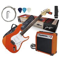Johnny Brook Electric Guitar with Amplifier, Burnt Orange