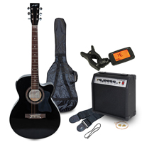 Johnny Brook Electro-Acoustic Guitar Kit with Amplifier, Black