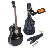"Johnny Brook Black 40"" Cutaway Acoustic Guitar Kit"
