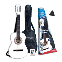 Bontempi Kids White Acoustic Guitar + Strap & Pick