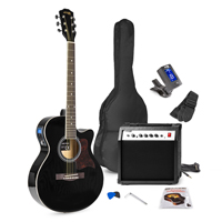 Max SHOWKIT Black Electric Acoustic Guitar & Amp Package