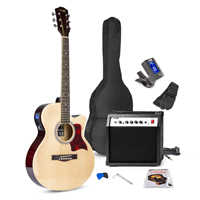 Max SHOWKIT Natural Electric Acoustic Guitar & Amp Package