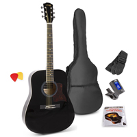 Max SOLOJAM Black Acoustic Guitar Package