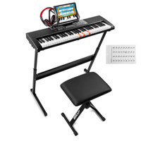 Electronic Keyboard for Beginners with 61 Lighted Keys - MAX KB5SET