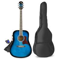 Blue Starter Acoustic Guitar Package - Max SoloJam Western