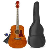 Acoustic Guitar Starter Kit - Max SoloJam Western Dark Natural