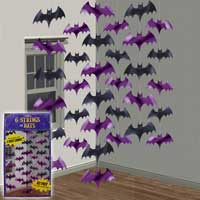 Pack of 6 Hanging Bats On A String Halloween Decorations