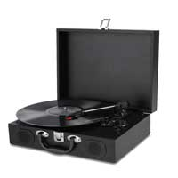 Portable Turntable LP Vinyl Record Player Speakers 33 45 78 USB Battery Powered