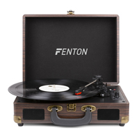 Fenton RP115B Dark Wood Briefcase Record Player with Bluetooth