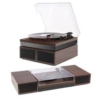 Record Vinyl Player With Speakers - Fenton RP165D Dark Wood Finish