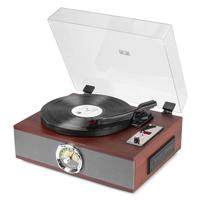 Retro CD & Record Player Combo - Fenton RP180 Vintage Dark Wood Finish