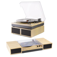 Vinyl Record Player With Speakers - Fenton RP165L Light Wood Finish