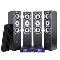 Fenton SHFT60B HiFi Tower Speaker System & Amplifier, Set of 4
