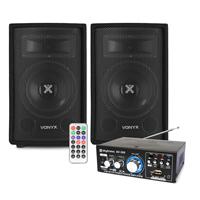 "Vonyx SL6 6"" Passive DJ PA Speakers Pair & Amplifier"