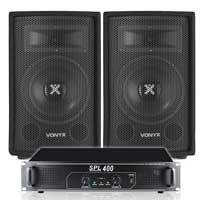 2x Vonyx 8 Inch Speakers + Skytec Power Amplifier 800W