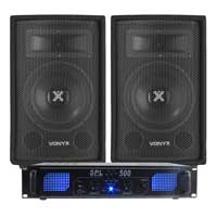 2x Vonyx 8 Inch Speakers + Skytec LED Power Amplifier 800W