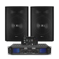 """Vonyx SL15 15"""" Passive DJ Speaker, Mixer & SPL1000 Amplifier"""