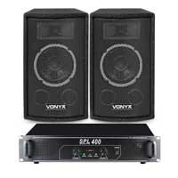 "Vonyx SL6 6"" Passive DJ PA Speakers Pair & SPL400 Amplifier"