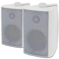 2x White Weatherproof 100V Line Speakers 120W