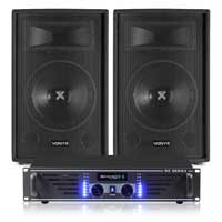 2x Skytec 10 Inch Speakers + Ekho Amplifier + Cables 1000W