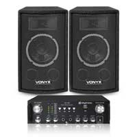 Skytec 6 Inch Speakers + Skytronic AV-100 Hifi Amplifier 500W