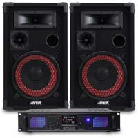 "Max Red 8"" Passive DJ Speakers Pair & SPL-500 Amplifier"
