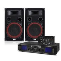 """Max Red 12"""" Passive DJ Speakers Pair, Mixer & SPL-1000 Amplifier"""