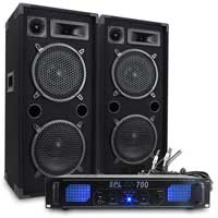 "2x MAX210 2 x 10"" Speakers + Skytec SPL-700 Amp + Cables 1800W"
