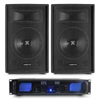 "2x Vonyx SL10 10"" Speakers with Skytec SPL500 Amplifier"