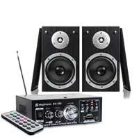 "Skytec Black 5"" Passive HiFi Speaker Pair with Amplifier"