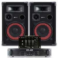 """Max Red 8"""" Passive DJ Speakers Pair, Mixer & SPL-400 Amplifier"""