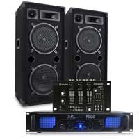 "Max 10"" Dual Passive DJ Speakers Pair, Mixer & SPL-1000 Amplifier"