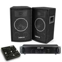 "Vonyx SL6 6"" Passive DJ PA Speakers Pair, 4-Ch Mixer & SPL-400 Amplifier"