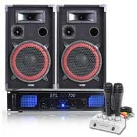 """Max Red 10"""" Passive DJ Speakers Pair, Mixer, Microphone & SPL700 Amplifier"""