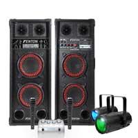 Fenton SPB-26 Bluetooth Active Party PA Speaker Pair, Mixer, Microphone & Spotlights