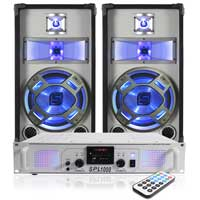 "2x Skytec 10"" Disco Speakers + White SPL Amp + Cables 800W"