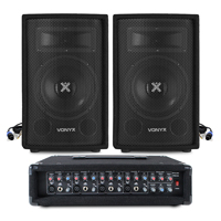 """2x Skytec 6"""" Speakers + Mixer Amplifier + Cables System 300W"""