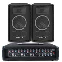 "Vonyx SL6 6"" Passive DJ PA Speakers Pair & Mixer Amplifier"