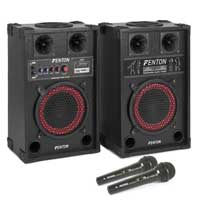 "Fenton 8"" Powered Karaoke Speakers & Microphone Pair"
