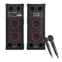 """Fenton Dual 6.5"""" Powered Bluetooth Karaoke Speakers & Microphone Pair"""