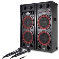 """Fenton Dual 10"""" Powered Bluetooth Karaoke Speakers & Microphone Pair"""