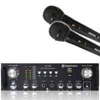Skytronic AV-100 Amplifier + 2x Microphones 100W