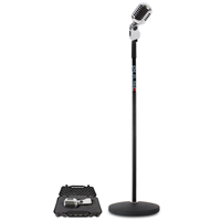 Silver Retro 50s Style Microphone & Black Round Base Stand