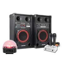Fenton SPB-8 Bluetooth Active Party PA Speaker Pair, Mixer, Mics & Jellyball
