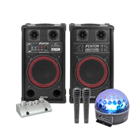Fenton SPB-10 Bluetooth Active Party PA Speaker Pair, Mixer, Mics & Jellyball