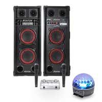 Fenton SPB-26 Bluetooth Active Party PA Speaker Pair, Mixer, Mics & Jellyball
