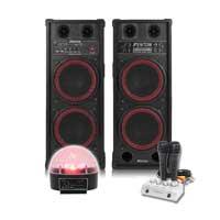 Fenton SPB-210 Bluetooth Active Party PA Speaker Pair, Mixer, Mics & Jellyball