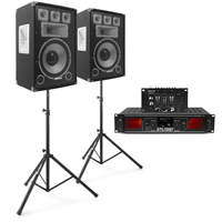 """Vonyx TX15 15"""" Passive DJ Speaker Pair, Stands, Mixer & Amplifier"""