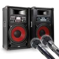 Skytec SPA-1200 Karaoke Speakers with Microphone Pair