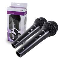 Pair of Black Handheld Dynamic Cardoid Disco DJ Karaoke Microphones PA Mics